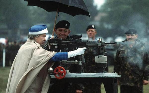 Queen with gun